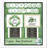 Editable Farmhouse Birthday Display - Shiplap, Forest, Calm Classroom Decor