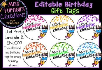 Editable Birthday Gift Tags