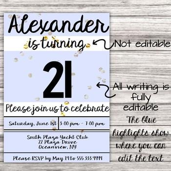 Editable Birthday Invitation - Any Age