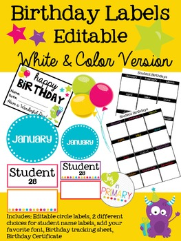 Editable Birthday Labels - White & Color Version