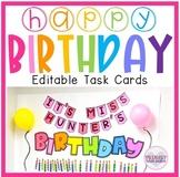 Editable Math Birthday Party Task Cards