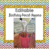 Editable Birthday Pencil Toppers