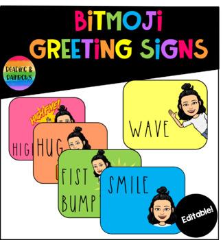 Editable Bitmoji Greeting Signs