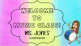 Editable Bitmoji Welcome to Music Class Classroom Sign
