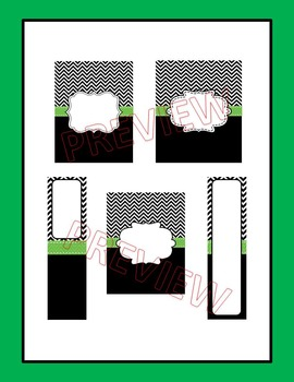 Editable Black Chevron and Green Binder Covers and Spine Labels