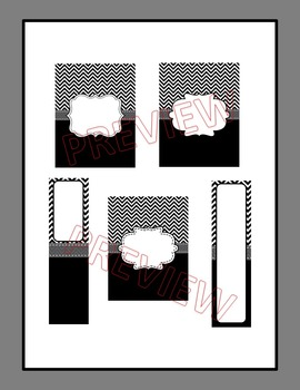 Editable Black Chevron and Grey Binder Covers and Spine Labels