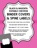 Editable Black Chevron and Magenta Binder Covers and Spine Labels