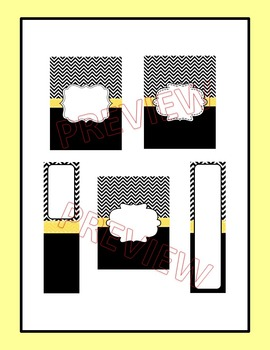 Editable Black Chevron and Yellow Binder Covers and Spine Labels
