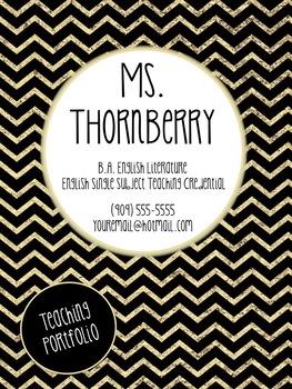 Editable Black, Gold, and White Themed Teaching Portfolio