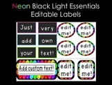 Editable Black Light Labels