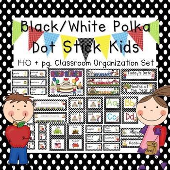 School Kids Black Dot Editable Classroom Organization & Decor Set