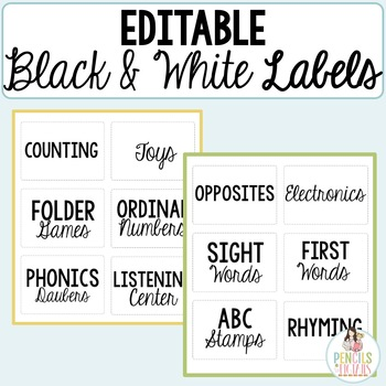 Editable Black & White Multipurpose Labels for Stations, Supplies, & More!