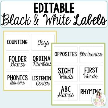 Editable Black & White Multipurpose Labels for Stations, S