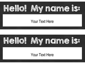 Editable Black & White Name Tags