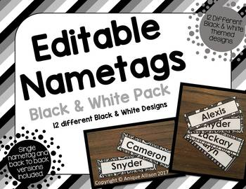 Editable Black & White Nametags/Name Plates