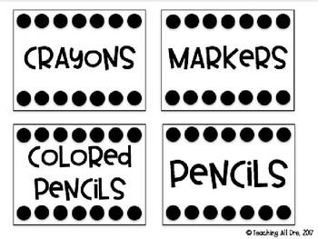 Editable Black & White Supply Labels