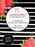 Editable Black, White, and Fuchsia Floral Themed Teaching