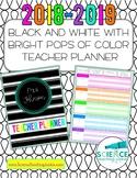 Editable Black & White w/Pops of Color Teacher Planner/Bin
