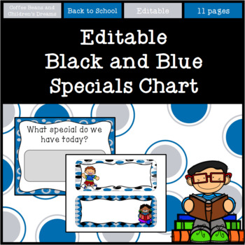 Editable Black and Blue Specials Chart
