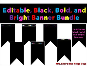 Editable Black and Bright Chalkboard Banner Bundle - 15 different Bold Banners