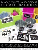 Editable Black, White, and Bright Classroom Labels