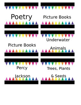 Editable Black and Bright Classroom Library Labels