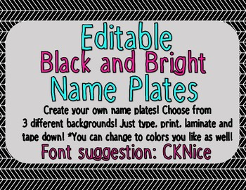 Editable Black and Bright Name Plates