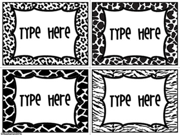 Editable Labels-Black and White Labels -Animal Skin
