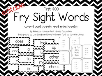 Editable Black and White Chevron Fry Sight Words pack
