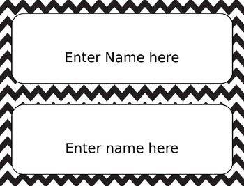 Editable Name Labels, Chevron, Back to School
