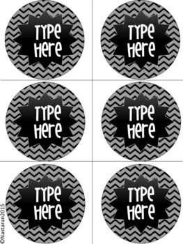Editable Labels-Black and Bright Chevron Classroom Round Labels