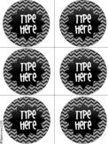 Editable Labels-Black and White Labels Chevron