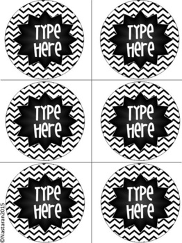 Editable Labels-Black and White Labels Chevron