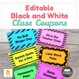 Editable Black and White Class Coupons