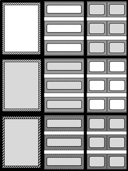 """EDITABLE Frames, Labels and Task Cards  {""""Black, White & Gray Hooray!""""}"""