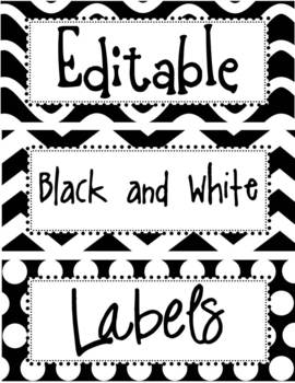 editable black and white labels by the enlightened elephant tpt
