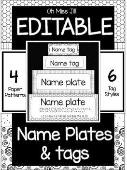 Editable Black and White Name Plates and Name Tags