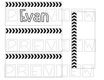 Editable Black and White Name Tags