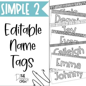 Editable Black and White Name Tags Vol. 2