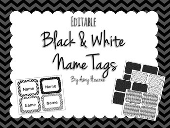 Editable Black and White Name Tags or Labels