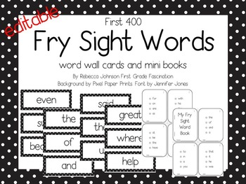 Editable Black and White Polka Dot Fry Sight Words pack