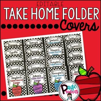 Editable Black and White Polka Dot Take Home Folder Covers