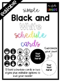 Editable Black and White Schedule Cards