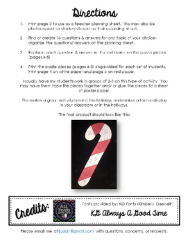 Editable/ Blank Candy Cane-Shaped PUZZLE TEMPLATE