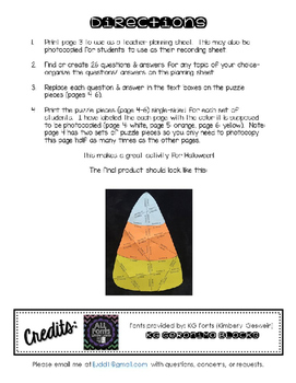 Editable/ Blank Candy Corn-Shaped PUZZLE TEMPLATE