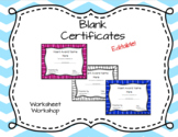 Editable Blank Certificates