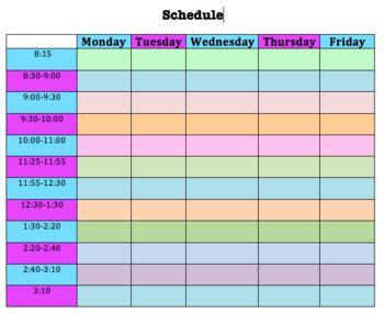 Editable Blank Colored Weekly Schedule