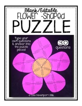 Editable/ Blank Flower-Shaped PUZZLE TEMPLATE