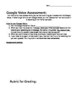 Editable Blank Google Voice Speaking Assessment
