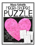 Editable/ Blank Heart-Shaped PUZZLE